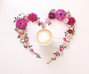 flowers, coffee, and heart image