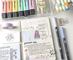 brush pens, college, and desk image