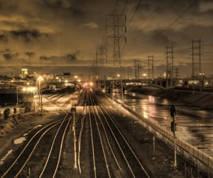 night, trains, and railway image