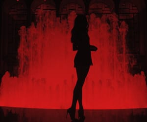 girl, fountain, and night image
