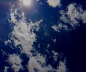blue, clouds, and sun image