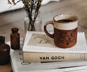 art, books, and coffee image