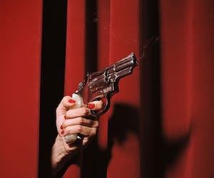 red, gun, and aesthetic image