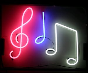 neon, music, and notes image