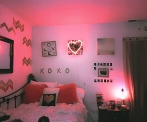 and, red, and bedroom image