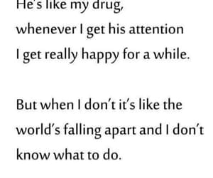 attached, drug, and sad love quote image