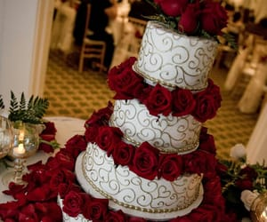 red roses, romance, and wedding cake image