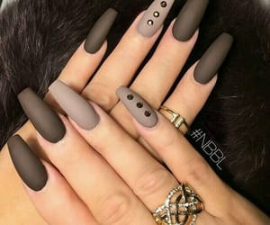 nails, brown, and rings image