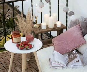 balcony, book, and candles image