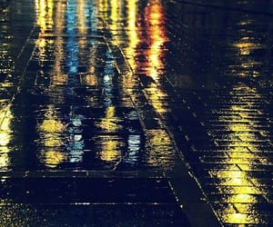 city, lights, and rain image