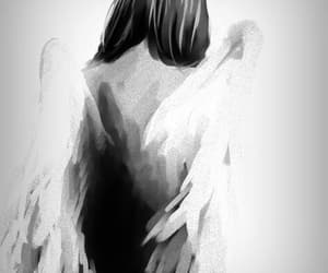 art, angel, and black and white image