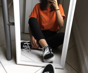 orange, vans, and outfit image