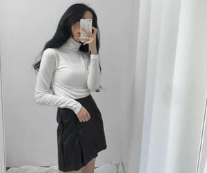 asian, black and white, and clothes image