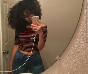 body, jeans, and curly image
