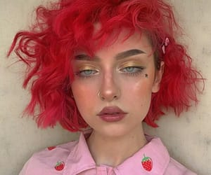 hair, makeup, and red image