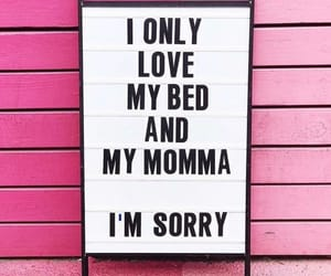pink, bed, and sorry image