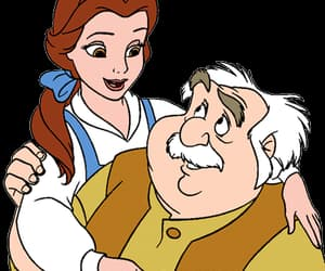 beauty and the beast, maurice, and belle image