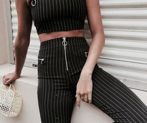 black, casual, and stripes image