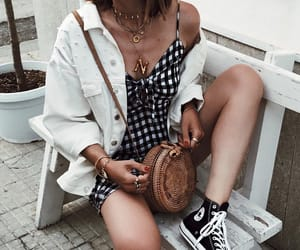 black converse, jacket, and layered necklace image