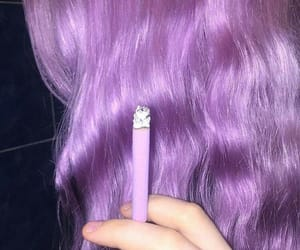 purple, cigarette, and girl image