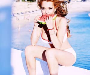 beach, lindsay lohan, and watermelon image