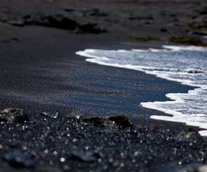 beach, sand, and black image