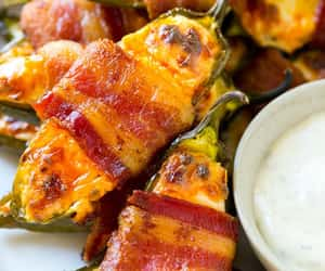 bacon, food, and jalapenos image