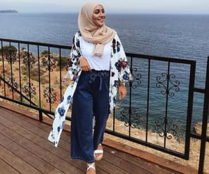 beach, view, and hijâbi image