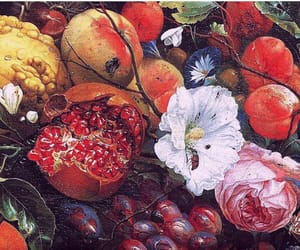 flowers, fruit, and peach image