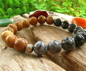hipster, hippie man, and healing bracelet image