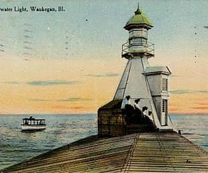 illinois, Lake Michigan, and postcard image