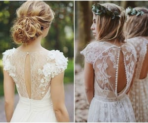 beautiful, floral, and wedding dress image