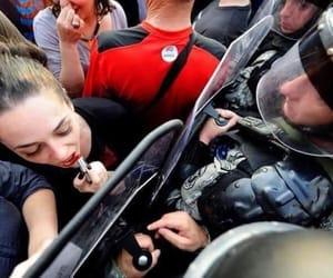 police, woman, and makeup image