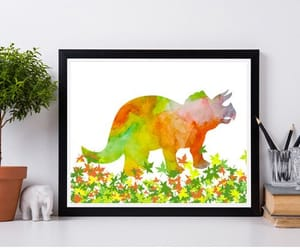 dinosaur, etsy, and poster image