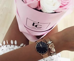 clock, pink roses, and outfit of the day image
