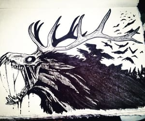 forest, horns, and ink image
