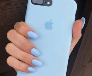 nails, blue, and iphone image