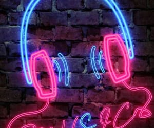 blue, headphones, and neon pink image