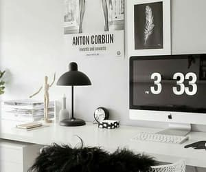 desk, white, and room image