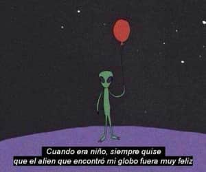 alien, balloons, and frases image