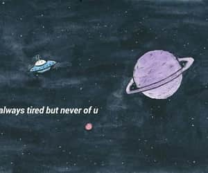 love, tired, and planets image