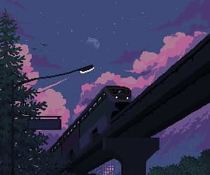 pixels, purple, and sky image