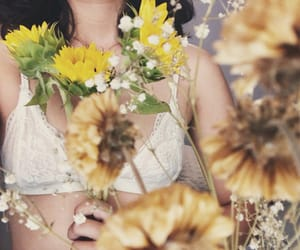 bralette, flowers, and sunflower image