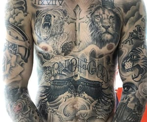 Tattoos, justin bieber, and full chest tattoos image