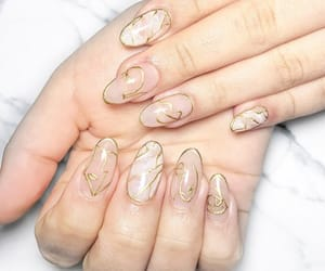 gold, nail art, and pink image