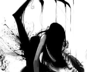 black&white, dark fantasy, and feather image