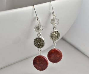 earrings, red, and etsy image
