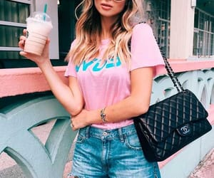 blue, outfit, and pink image
