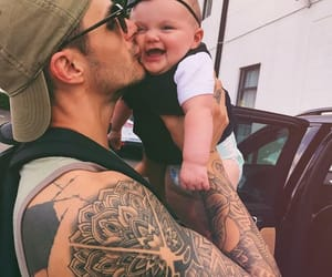 baby girl, tatto, and daddy image