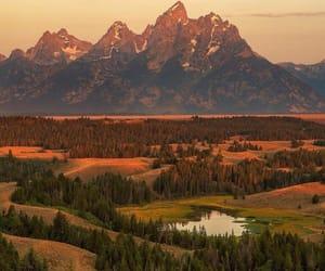 landscape, sunset, and mountain image
